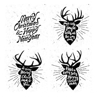 Reindeer silhouettes with christmas messages