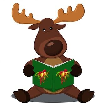 Reindeer singing christmas carols cartoon