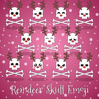Reindeer skull emoji with bones