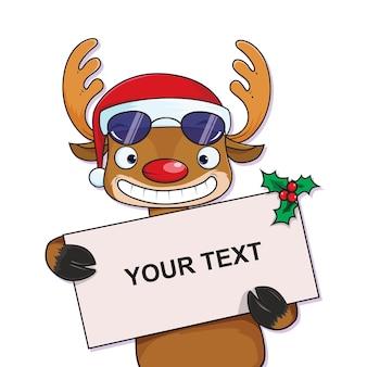 Reindeer sunglasses holding a blank board