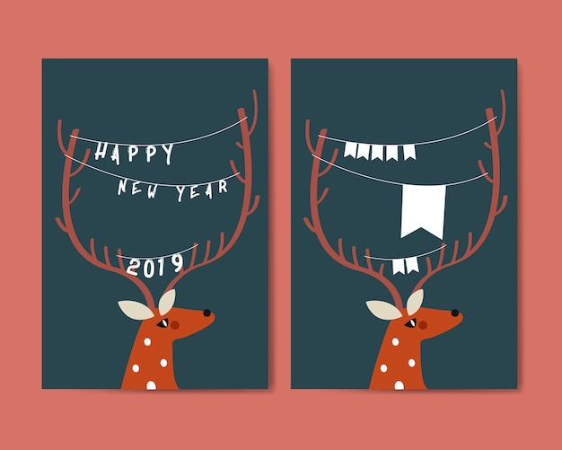 Reindeer with decoration around horn vector