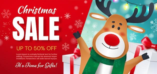 Олень с подарками объявляет о праздничных скидках. время рождественских распродаж для подарков.