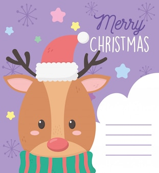 Reindeer with hat merry christmas illustration