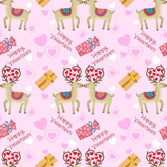 Reindeer with heart shape and gift seamless pattern.