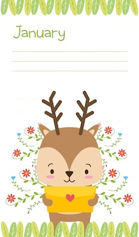Reindeer with love letter, cute animal cartoon and flat style, illustration