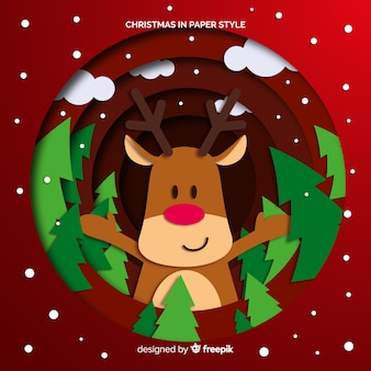 Reindeer with pines christmas background