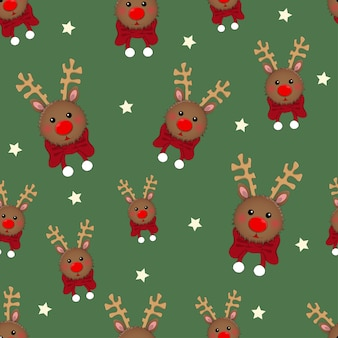 Reindeer with red scarf on green background