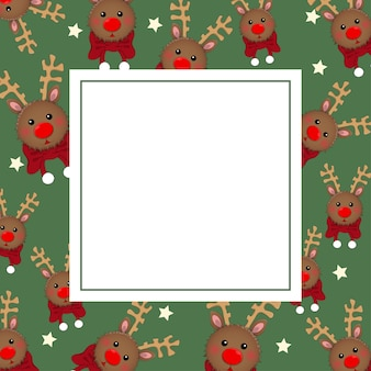 Reindeer with red scarf on green banner card