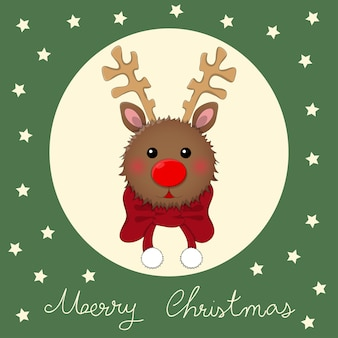 Reindeer with red scarf on green christmas greeting card.