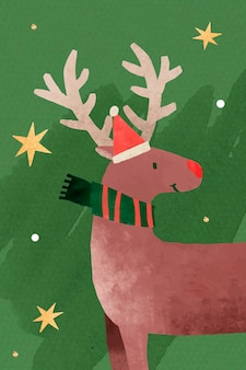 Reindeer with santa hat doodle