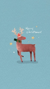 Reindeer with santa hat and merry christmas message