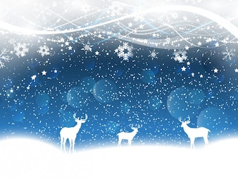 Reindeers on the snow blue background