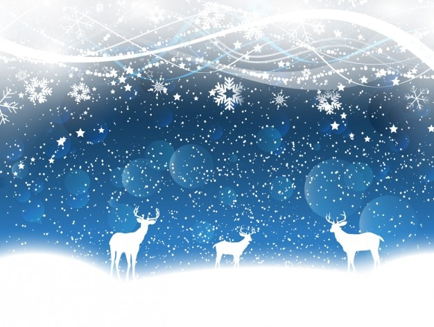 Северные олени на синем фоне снега