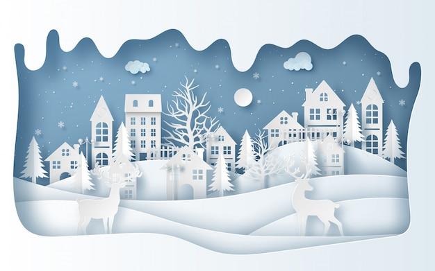 Reindeers in the village in winter season