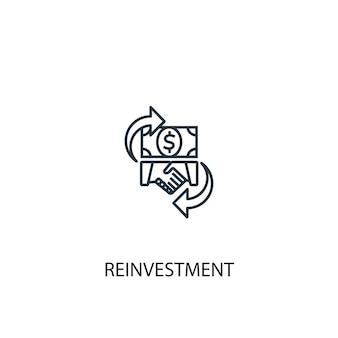 再投資コンセプトラインアイコン。シンプルな要素のイラスト。再投資コンセプト概要シンボルデザイン。 webおよびモバイルui / uxに使用できます
