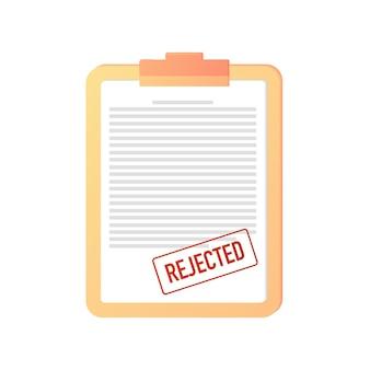 거부됨 문서 계약 증명서 취소 웹 배너 온라인 거부incorrect