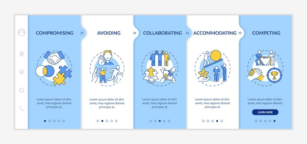 Relation problems resolution onboarding vector template. responsive mobile website with icons. web page walkthrough 5 step screens. communication color concept with linear illustrations