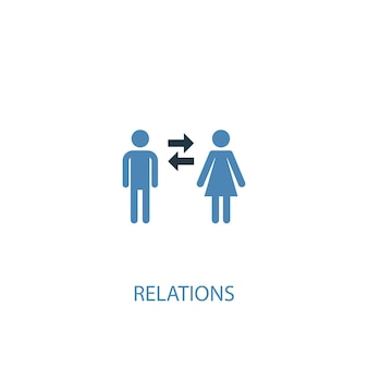 Relations concept 2 colored icon. simple blue element illustration. relations concept symbol design. can be used for web and mobile ui/ux