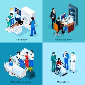 의사와 환자 아이콘 세트 사이의 관계