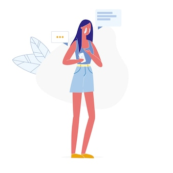 Relationship breakup via phone vector illustration