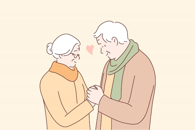 Relationship, love, couple, romance, old age concept