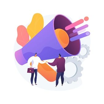 관계 마케팅 추상적 인 개념 벡터 일러스트 레이 션. 고객 관계 전략, 소비자 충성도, 브랜드 상호 작용 및 장기 참여, 소셜 미디어 추상 은유에 중점을 둡니다.