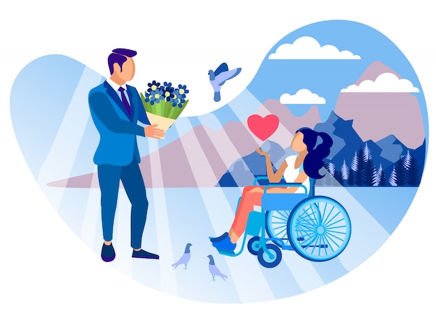 Relationship with disabled girl cartoon flat.