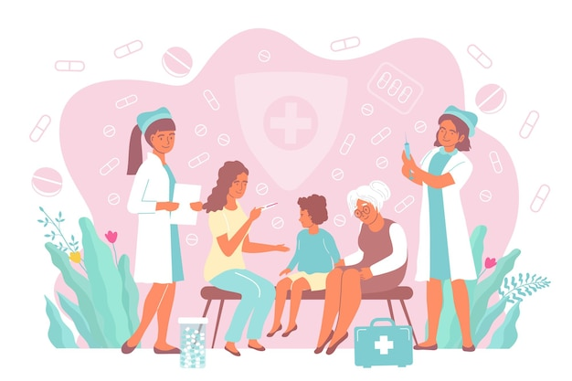 Relatives brought their child to the hospital for vaccinations Premium Vector