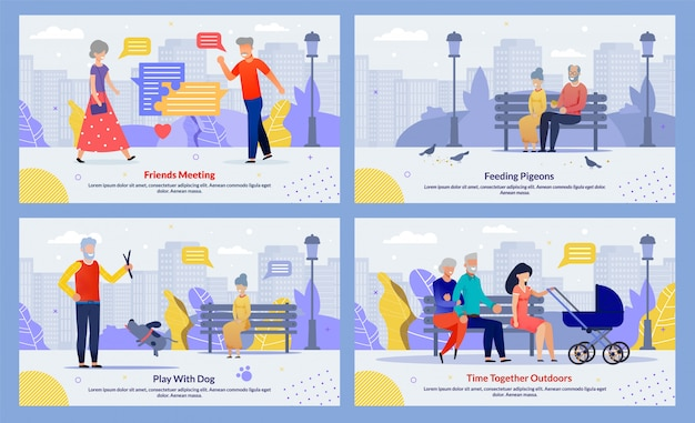 Relatives spend time outdoors together template set