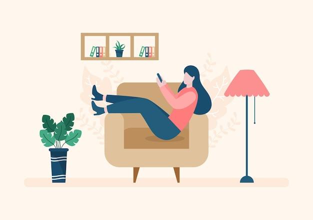 ストレスを和らげるために自宅でリラックスフラットイラストベクトル