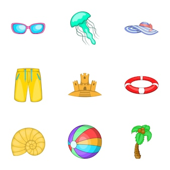 Relax on beach icons set, cartoon style