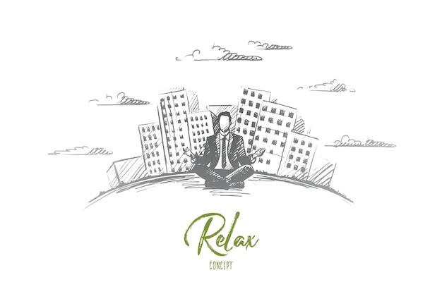Расслабьтесь концепция. ручной обращается человек сидит и расслабляется, современные здания на фоне. бизнесмен отдыхает изолированных иллюстрация.