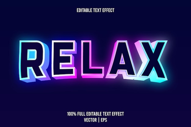Relax editable text effect 3 dimension emboss neon style