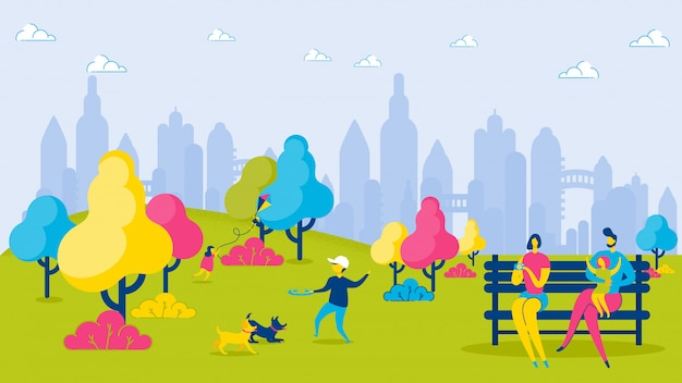 Мультипликационные семейные дети в городском парке relax leisure