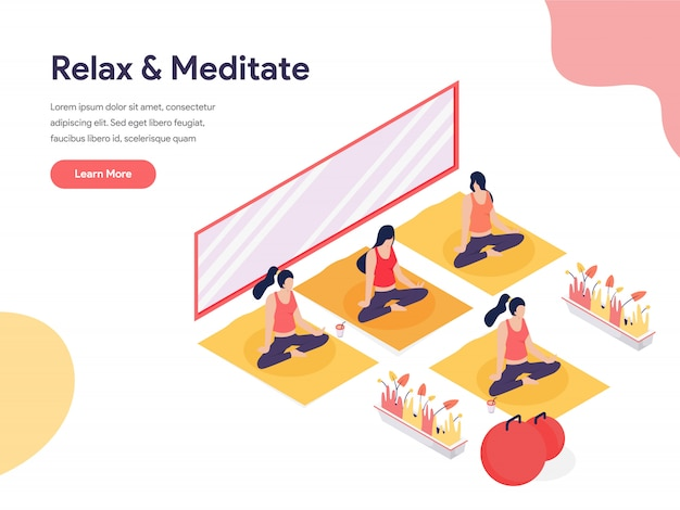 Relax and meditate isometric illustration