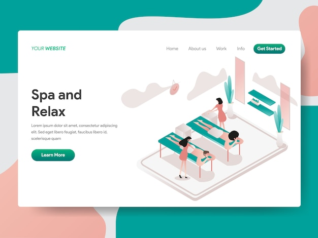Relax and spa room isometric illustration. landing page