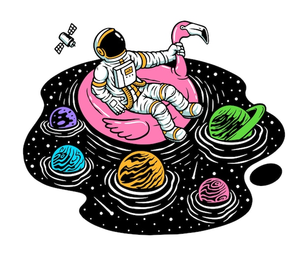 Relax in the universe pool illustration