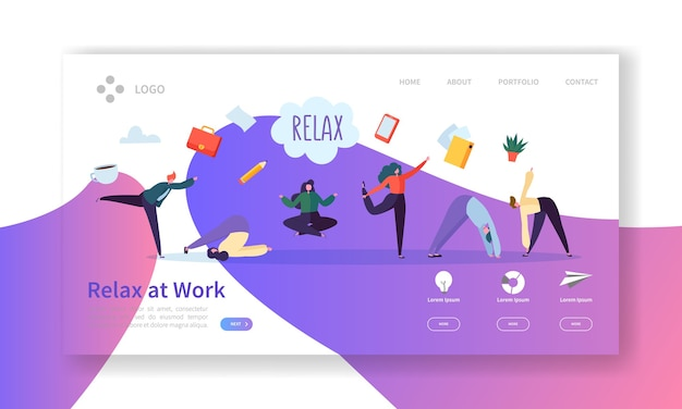 Relax at work, coffee break landing page template. business people characters relaxing meditating at office work for web page or website.