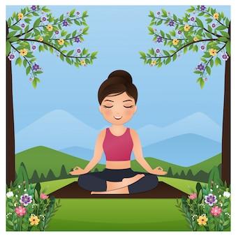 リラックスして少女はヨガを練習し、美しい自然と花の屋外の蓮華座で瞑想します。風景の背景