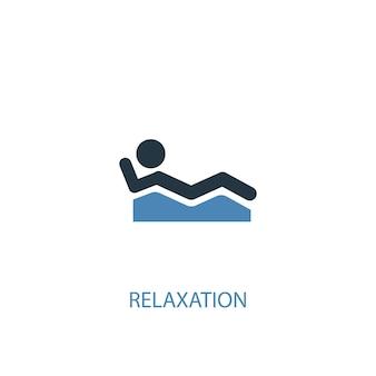 Концепция релаксации 2 цветных значка. простой синий элемент иллюстрации. дизайн символа концепции релаксации. может использоваться для веб- и мобильных ui / ux