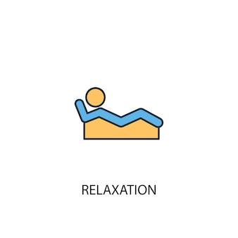 Концепция релаксации 2 цветной значок линии. простой желтый и синий элемент иллюстрации. концепция релаксации наброски символ дизайн