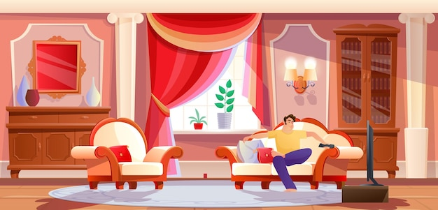Relaxed domestic man watching tv on couch at home retro red interior male resting enjoy weekend