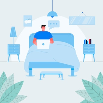 ラップトップの正面図ベクトルフラットイラストとベッドに座ってリラックスしたフリーランサーの男。