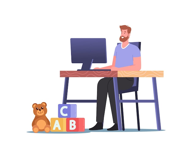 Relaxed man working on computer sitting at home desk workplace with kids toys on floor. freelancer character, freelance