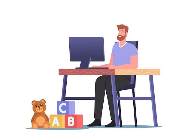 Расслабленный человек, работающий на компьютере, сидя на рабочем месте домашнего стола с игрушками детей на полу. фрилансер персонаж, фриланс