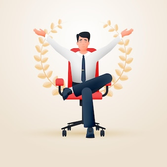 Relaxed meditating contented businessman in an office chair depicting success