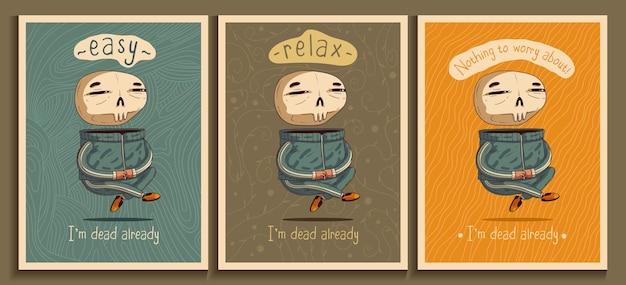 Расслабленная медитация оптимистическая левитация скелета веселая жизнь после смерти векторные плакаты