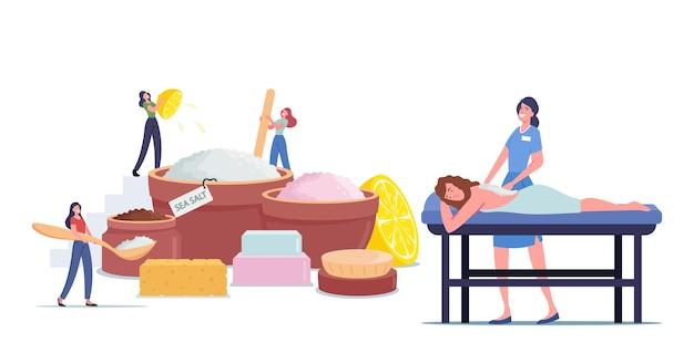 スパサロンでピーリングマッサージまたはソルトスクラブを適用しているリラックスした女性。天然の海塩、レモンジュース、アロマオイルの美容製品を作る小さな女性キャラクター。漫画の人々のベクトル図
