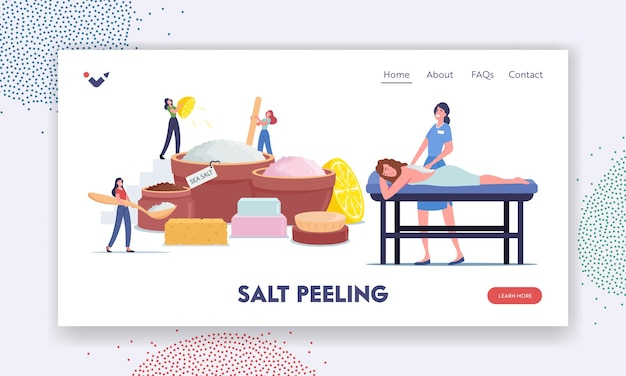 Relaxed woman applying peeling massage or salt scrub in spa salon landing page template. tiny female characters making beauty product of natural sea salt and oils. cartoon people vector illustration