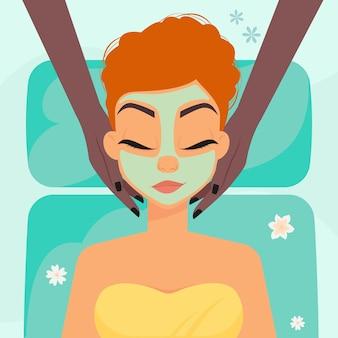 Расслабленная женщина во время спа-массажа лица